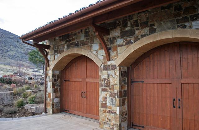 Colorado Tuscan Home mediterranean-garage-and-shed
