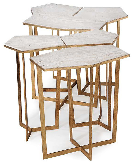 Regina andrew gold leaf travertine puzzle table set modern for Coffee tables regina