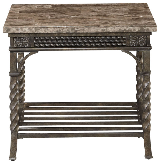 Standard Furniture Cristiano End Table in Antique Brown Metal traditional-side-tables-and-end-tables