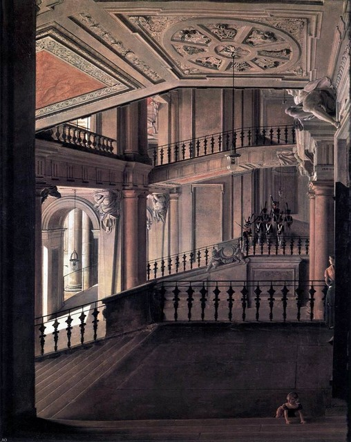 Eduard Gaertner Staircase in the Berlin Palace  Print traditional-artwork