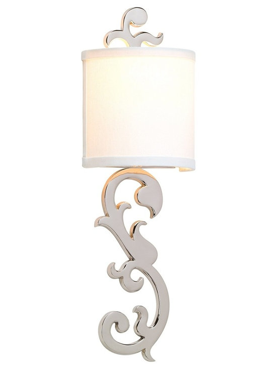 """Corbett - Contemporary Corbett Romeo Polished Nickel 21 1/4"""" High Wall Sconce - This modern updated scrolling solid brass wall sconce from the Romeo Collection is finished in polished nickel to give it a contemporary look. It adds finesse and a sense of luxury to any home decor. The hardback linen shade adds to its stylish appeal. From Corbett Lighting. Solid brass construction. Polished nickel finish. Hardback linen shade. Takes one 60 watt candelabra bulb (not included). 6 3/4"""" wide. 21 1/4"""" high. Extends 4"""" from the wall. ADA Compliant.  Solid brass construction.   Polished nickel finish.   Hardback linen shade.   Takes one 60 watt candelabra bulb (not included).   6 3/4"""" wide.   21 1/4"""" high.   Extends 4"""" from the wall.   ADA compliant wall sconce."""