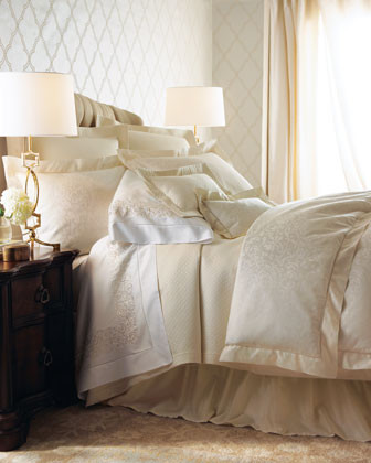 SFERRA Ivory Jacquard Bed Linens Diamond-Pique King Coverlet traditional-throws