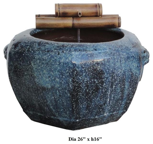 Ceramic Pot Fountains: Chinese Blue Lion Head Ceramic Pot Bamboo Fountain