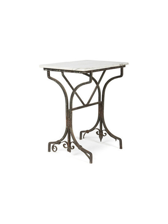 "Vintage Garden Table with Marble Top - This beautiful vintage garden table reveals chipping dark grey paint, with a rusting patina holding a white marble top. An ideal piece for indoors or in your garden. Measures  30""h x 22""w x 15""d."