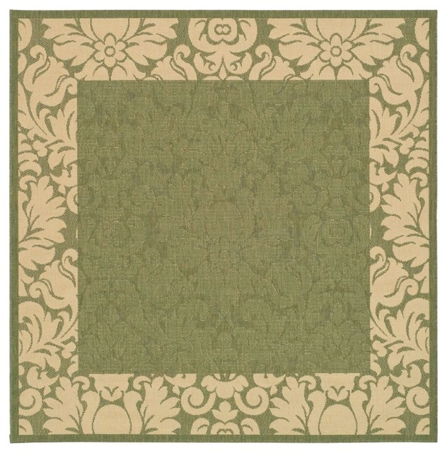 "Indoor Outdoor Rugs Square: Indoor/Outdoor Courtyard Square 7'10"" Square Olive"