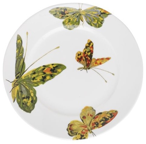 Flora + Fauna Dessert Plate Set, Butterfly contemporary dinnerware