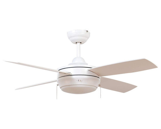 "Ellington Fans - Ellington Fans E-LAV44MWW4LK Matte White Modern Modern Indoor 4 Blade - Ellington Fans Laval-44 Modern Indoor 4 Blade 44"" Ceiling Fan with Light Kit Give a sophisticated presentation to your room with the Laval Ceiling Fan from the Modern Collection by Ellington Fans. The fan is a simple way to create the appearance that you ve been looking for. Sophistication, poise and elegance come in all shapes and sizes. Get carried away by Ellington Fans Classic Collection and find exactly what you re looking for among their unique masterpieces. Ellington Fans Laval-44 Features:  1 x 100 Watt Down Light Kit Included 6"" Downrod Included  Ellington Fans Laval-44 Specifications:  Height from Blades: 11.5"" Height from Ceiling: 14"" Light Kit Adaptable: Yes Light Kit Included: Yes Number of Blades: 4 Blade Span: 44"" Control Type: Pull Chain Mount Type: Dual-Mount Motor Size: 153mm x 15mm  Ellington Fans Laval-44 Blade Finishes:   Brushed Pewter Finish  - Silver Blades  Espresso Finish  - Dark Oak / Mahogany Blades  Matte White Finish  - Matte White Blades"