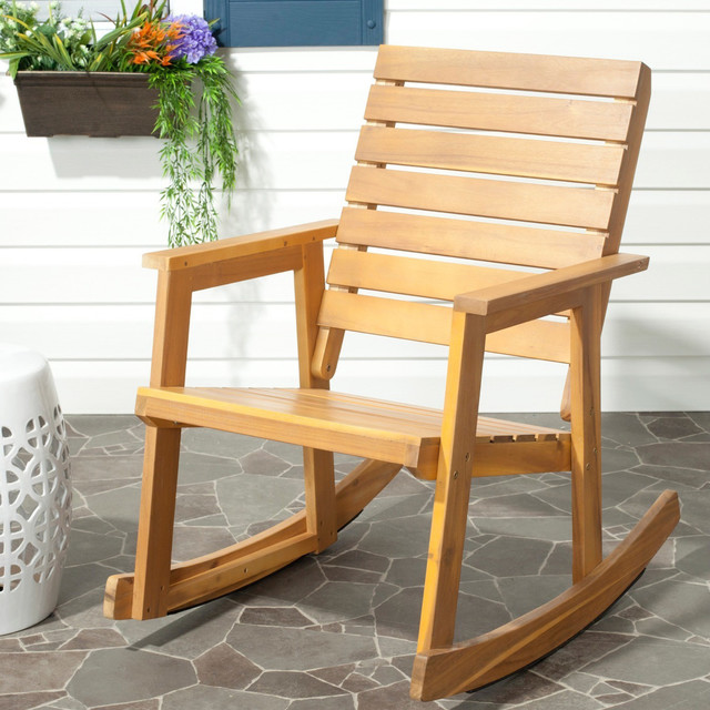 Safavieh Outdoor Alexei Teak Rocking Chair Contemporary Outdoor Rocking C