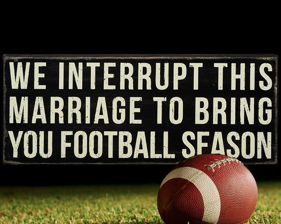 """Wooden Box Signs - """"Football Season"""" - Express what you really feel with one of our wonderfully affordable vintage styled box signs. Available in a variety of meaningful messages, each richly finished - slightly weathered box sign is perfect for sitting or for hanging. Ranging in size from 4"""" x 3"""" - 30"""" x 30"""", they look great hanging on a wall or sitting on your favorite shelf, mantle or desk."""