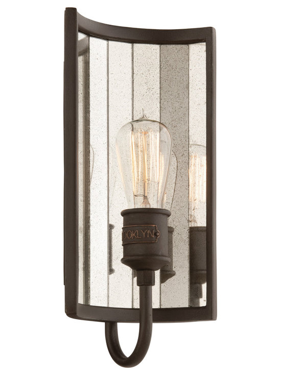 Early American Brooklyn Antique Mirrored Wall Sconce - This wall sconce features hand-worked iron in a Brooklyn Bronze finish complemented by an antique mirrored backplate. Imported.