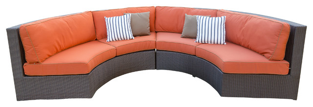 Terrace Collection Curved Sofa Sectional with Sunbrella Fabric Cushions, Canvas contemporary-outdoor-sofas