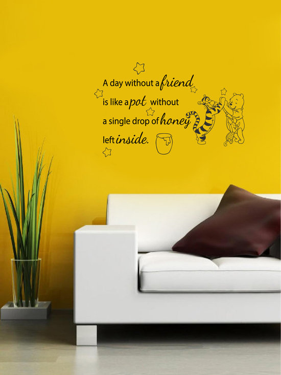 Vinyl Decals Winnie the Pooh Quote Day without Friend Home Wall Art Decor Remova -