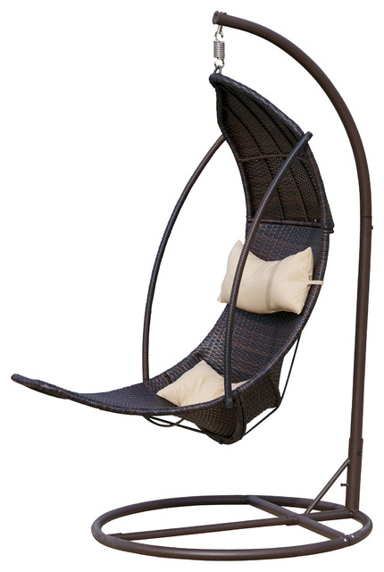 Thompson Outdoor Brown Wicker Swinging Lounge Chair Contemporary Hammocks