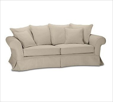 Charleston Slipcovered Roll-Arm Grand Sofa, Polyester Wrap Cushions, Twill Parch traditional-sofas