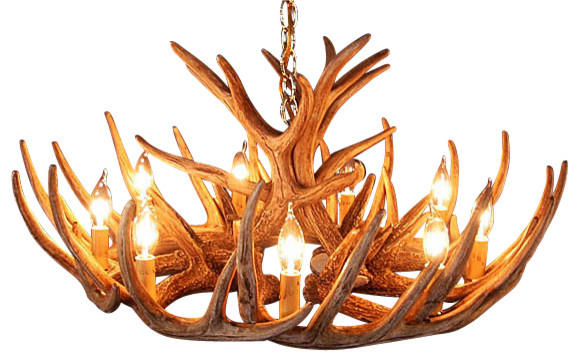 Rustic Whitetail Antler Cascade Chandelier - 12 Antlers 9 Lights rustic-chandeliers