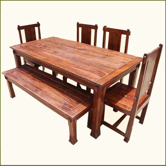 Rustic Solid Wood Santa Cruz Dining Table Set traditional