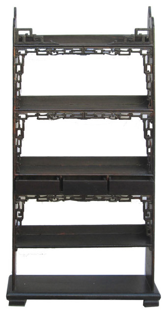 Chinese Antique Narrow Ru-Yi Display Bookcase Cabinet - Asian - Bookcases - by Golden Lotus Antiques