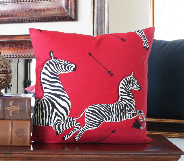 Masai Red Zebra Print Throw Pillow l Scalamandre l Chloe and Olive - Traditional - Decorative ...