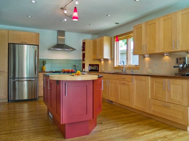 Red Contemporary contemporary-kitchen