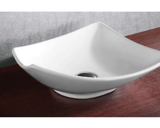 "Caracalla - Elegant Square Ceramic Vessel Bathroom Sink by Caracalla - Elegant square above counter vessel sink without overflow. Modern white ceramic bathroom sink has no faucet holes. Designed in Italy by Caracalla. Sink dimensions: 19.88"" (width), 5.91"" (height), 15.94"" (depth)"