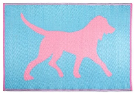The Koko Company Dogs Indoor/Outdoor Rug - Pink/Turquoise is the perfect choice contemporary-rugs