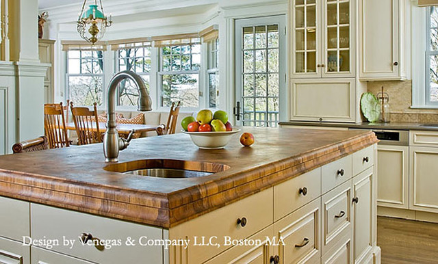 Teak Butcherblock Countertop With Sink By Grothouse Traditional Kitchen Countertops Boston