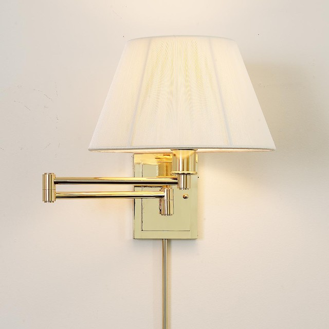 Wall Lamps With Shades : Designer Swing Arm Wall Lamp -No Shade (3 Finishes!) - Lamp Shades - by Shades of Light