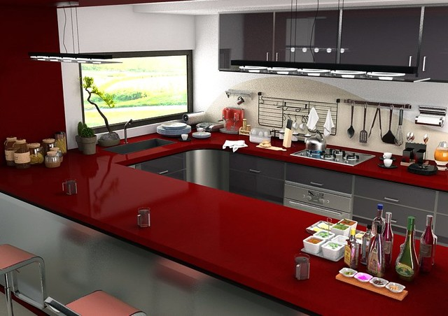 Cen Ruby Red Quartz Countertops Contemporary