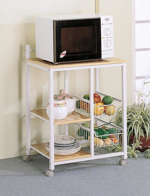 Natural/ White Casual Serving Cart modern-kitchen-islands-and-kitchen-carts
