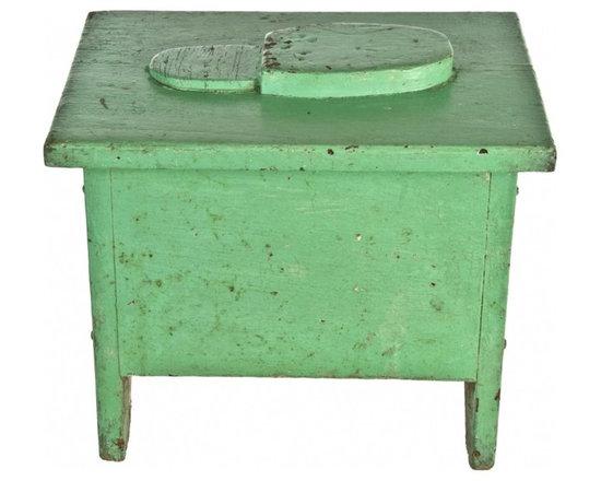 Wood Shoe Shine Box - Vintage handmade wood shoeshine box with footrest.