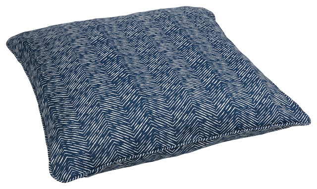 Large Decorative Outdoor Pillows : Navy Herringbone Corded Outdoor/ Indoor Large 28-inch Floor Pillow - Contemporary - Decorative ...