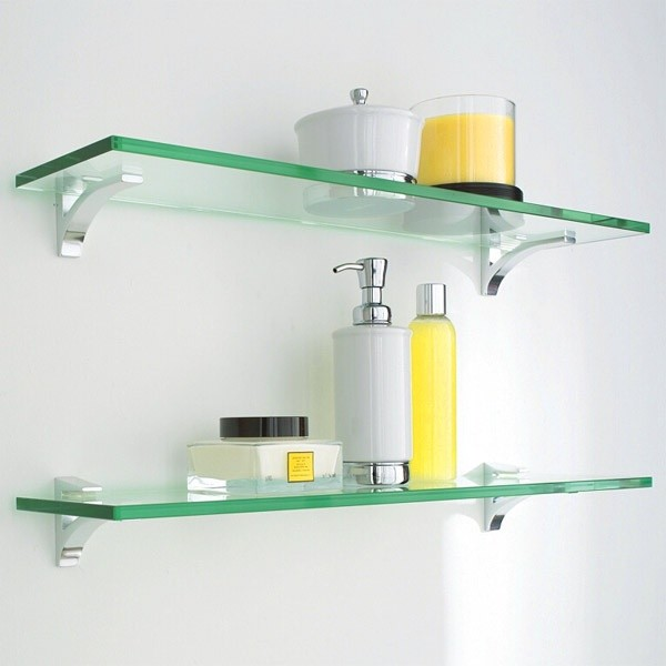Glass shelves modern display and wall shelves dc for Bathroom glass shelves