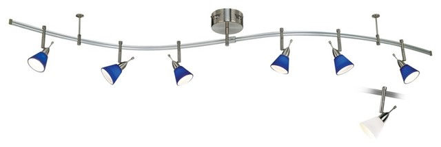 Contemporary Brushed Steel Blue and White Frosted Glass Monorail Kit contemporary-track-lighting