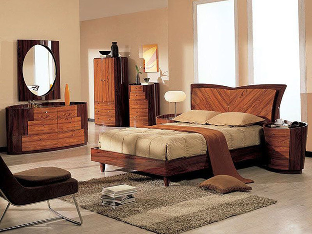 Stylish Wood Platform Bedroom Sets with Extra Storage contemporary-beds