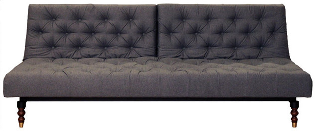 Crash Pad Exposed Chesterfield Sofa/Bed, Gray Felt modern sofa beds