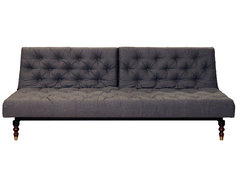 Crash Pad Exposed Chesterfield Sofa/Bed, Gray Felt modern-futons