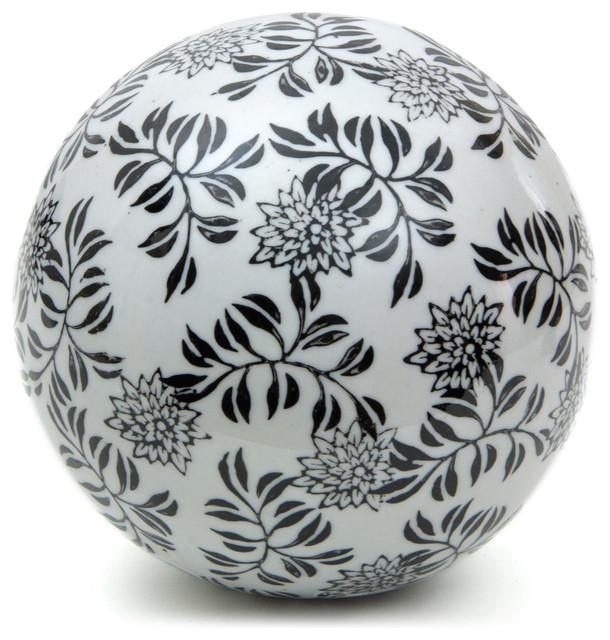 """6"""" Decorative Porcelain Ball - Black Vines contemporary-decorative-accents"""