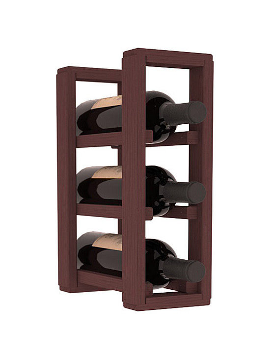 Wine Racks America® - 3 Bottle Counter Top/Pantry Wine Rack in Pine, Walnut Stain - These counter top wine racks are ideal for any pantry or kitchen setting.  These wine racks are also great for maximizing odd-sized/unused storage space.  They are available in furniture grade Ponderosa Pine, or Premium Redwood along with optional 6 stains and satin finish.  With 1-10 columns available, these racks will accommodate most any space!!