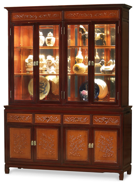 Rosewood Flower and Bird Motif China Cabinet - Asian - China Cabinets And Hutches - by China ...