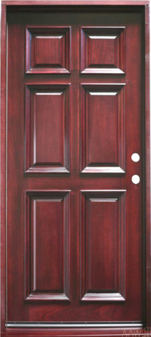 6 Panel Prehung And Prefinished Entry Door 36 X80 Mahogany Traditional Front Doors