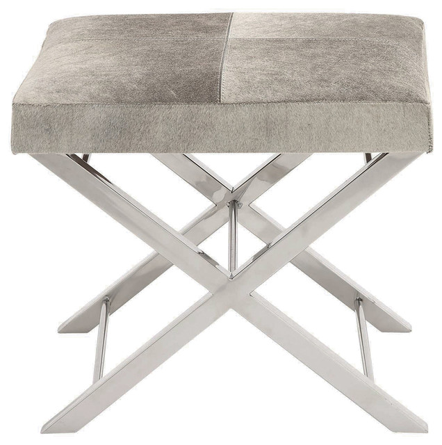 Urban Designs Modern Steel And Cowhide Leather Counter