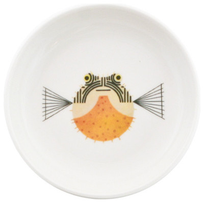 "Charley Harper Puffer Fish Sauce Dish 4-3/8"" eclectic-serveware"