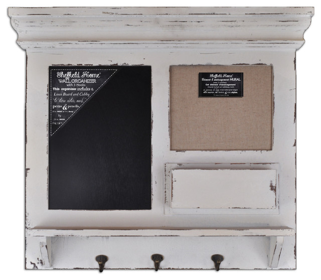 Burlap, Chalk Framed Wall Organizer with Hooks (Shabby Ivory) - Eclectic - Bulletin Boards And ...