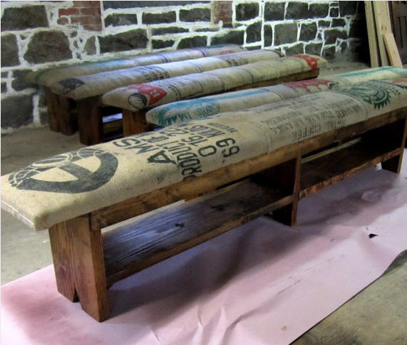 Coffee Sack and Reclaimed Wood Bench by Recycled Brooklyn contemporary bedroom benches