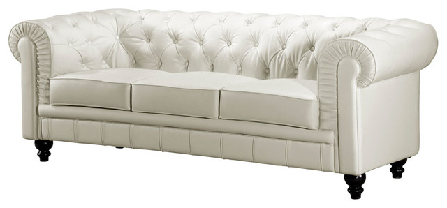 White button tufted leather sofa with rolled arms for Traditional tufted leather sofa
