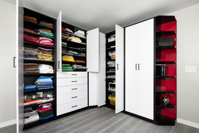Sculpted White-Red-Black HPL Wall Bed & Sewing Room - Contemporary - Display And Wall Shelves ...