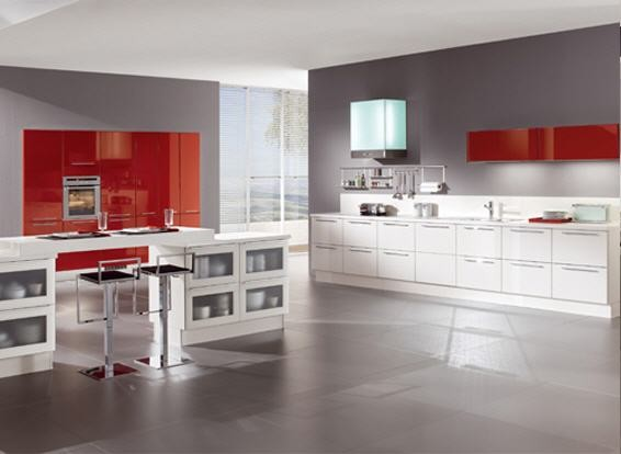 Modern kitchen with red and white high gloss cabinets ...