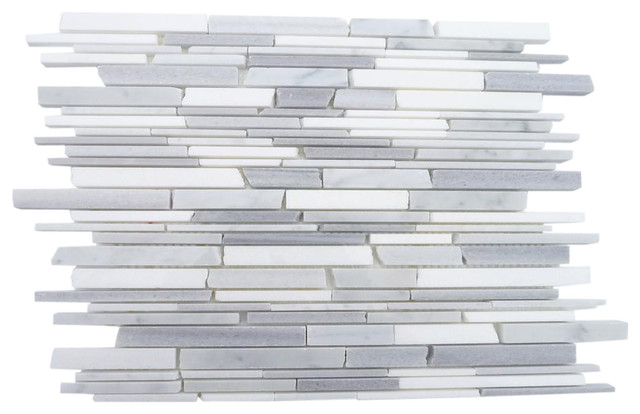 Gray Clouds Free Form Cracked Joint Brick Marble Tile contemporary-tile