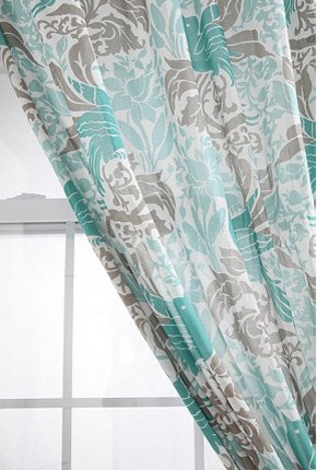 Bird flourish curtain contemporary curtains by urban - Turquoise and yellow curtains ...