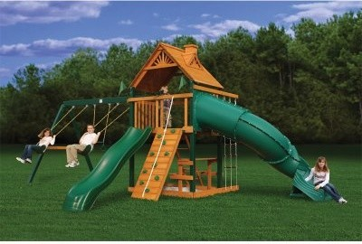 Gorilla Playsets Blue Ridge Mountaineer Wood Swing Set modern-outdoor-swingsets